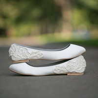 Ivory Wedding Shoes/Ballet Flats with Ivory Lace Applique. US Size 8