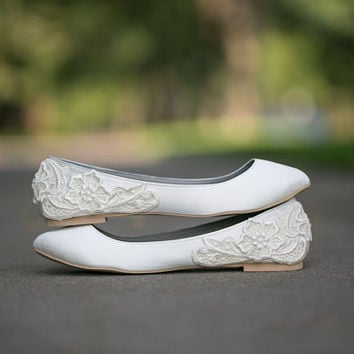 Wedding Flats  Ivory Wedding Flats/Wedding Shoes by walkinonair