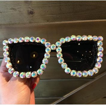 9 design luxury Sunglasses Women Square Vintage sunglasses Bling Rhinestone Sun glasses for Woman Oversize Fashion Shade  UV400