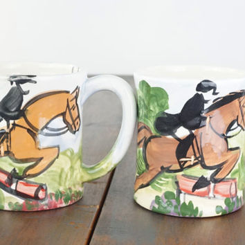 Vintage Horse Art Coffee  Mugs, Ceramic Coffee Cups, Hand Painted