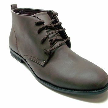 Mens Rocus Ankle High Lace Up Chukka Boots MB-13 Dark Brown