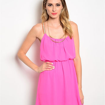 Neon Pink Jeweled Strap Dress