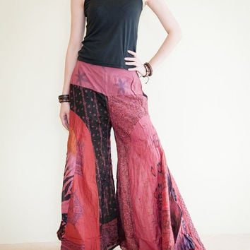 Unique Patchwork Butterfly Wide Leg Women Pants Light Weight Printed Crinkle Cotton Elastic Waist (PK-30)