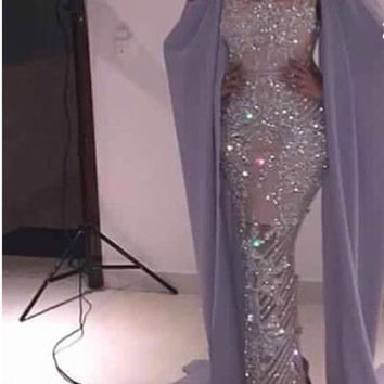 luxury beads fully evening dress 2016 sheath long evening gowns with cape