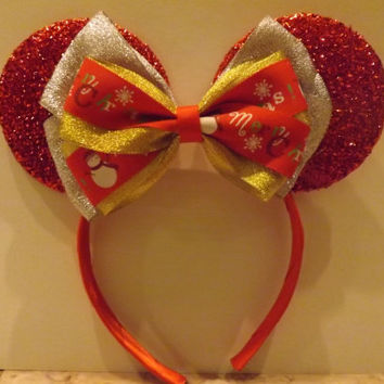 Minnie Mouse headband Red Ears Christmas Bow Limited Holiday Collection