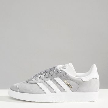 adidas Originals Gray Gazelle Sneakers With Snake Effect Trim at asos.com