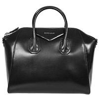 Givenchy HBAG-ANTI-SVR-DET-M Antigona Sugar Goatskin Leather Satchel Bag, Black