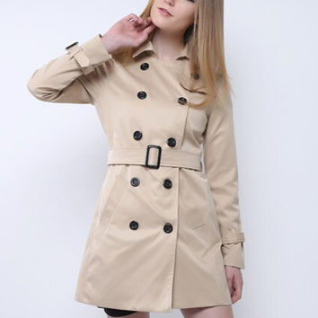 Long Sleeve Shirt Collar Belted Buttoned Trench Coat