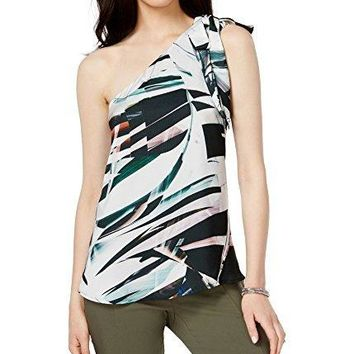 Bar III Printed One Shoulder Top