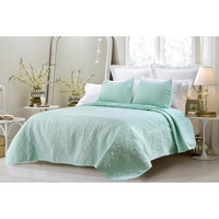 Oversized-3PC Quilted Coverlet Set- Sage in Queen Size