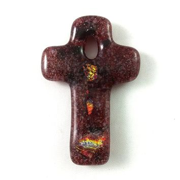 Handmade Art Glass Christian Cross, Red and Rainbow Dichroic Jewelry Pendant, Donation Piece, Valentine Gift