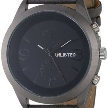 UNLISTED WATCHES Men's UL1265 City Streets Round Grey Case Black Dial Grey Strap Watch