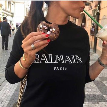 """Balmain"" Unisex Simple Casual  Bronzing Letter Print Thickened Long Sleeve Sweater Couple Loose Pullover Tops"