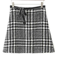 Houndstooth Bowknot Detail Mini Skirt
