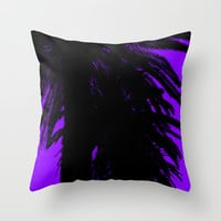 Palm Trees Silhouette - Purple Sunset Throw Pillow by Moonshine Paradise