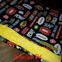 Personalized childrens blanket.  Baby or Toddler blanket.  Minky and cotton print - Superhero, multi colored.