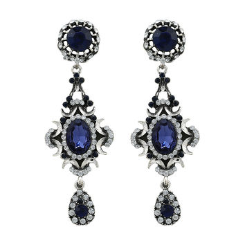 Crystal Silver Plated Vintage Old Europe Fashion Trendy Girls Popular Dangle Earrings - Dark Blue