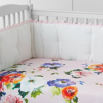 Organic Hannah Floral Crib Fitted Sheet