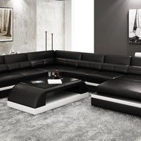 Chic Leather Sectional Sofa - Opulentitems.com