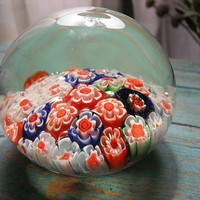 Colorful vintage Millefiori Paperweight Cane Glass ~~ Mid Century Modern Paper weight