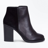 Black Comfort Leather Contrast Panel Heeled Boots | New Look