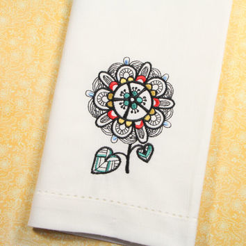 Colorful Blackwork Flower Embroidered Cloth Napkins /Set of 4/ embroidered napkins, floral napkins, flower napkins, cloth napkins