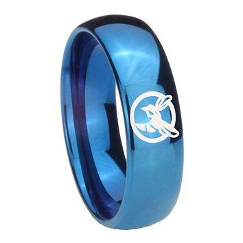 8MM Glossy Blue Dome Honey Bee Tungsten Carbide Laser Engraved Ring