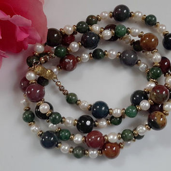 Bloodstone and White Freshwater Pearl Necklace with Vermeil Magnetic Clasp