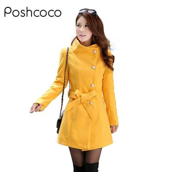 Poshcoco Brand Women Woolen Trench Coat Manteau Femme 2017 Autumn Warm Winter Long Slim Single Breasted Girls Coats Wool Blends