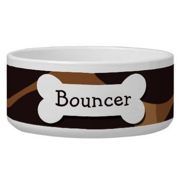 Brown Patterned Personalized Pet Bowls from Zazzle.com