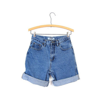 Guess Jean Shorts 80s High Waist Denim Shorts Womens 1980s GUESS Jean Shorts Roll Up Cuff Shorts Vintage 80s XS Small