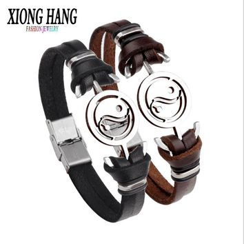XiongHang 2018 Fashion Tai Chi Wristband Black Punk Rubber Silicone Stainless Steel Men Bracelets Bangles Pulseras Hombre Caucho