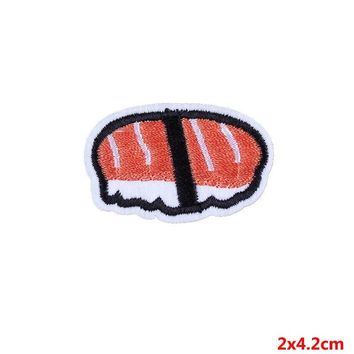 Pulaqi Japenese Sushi Patches Food Embroidered Sticker Iron Sewing On Clothes Armband Badge Decor For Clothing Hat DIY D