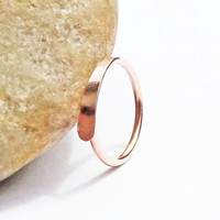 14K Rose Gold Filled Cartilage Hoop, Hammered, 18 Gauge