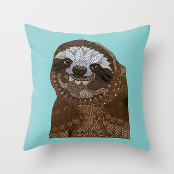 Happy Sloth Throw Pillow by ArtLovePassion