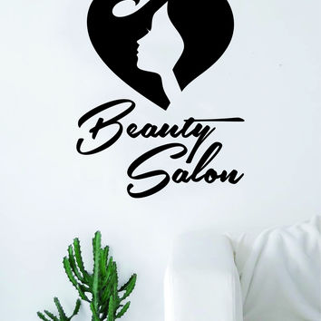 Beauty Salon V3 Wall Decal Sticker Vinyl Room Decor Art Girls Stylist Logo Female Hair Heart Cute Spa Shop