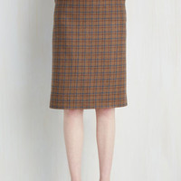 Menswear Inspired, 50s, Scholastic Long Pencil Works for Me! Skirt by ModCloth