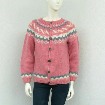 Vintage 70s Stobi Scandinavian Light Pink Cardigan Sweater, Icelandic Sweater, Danish Sweater, Wool Cardigan, Oversized Knit Cardigan
