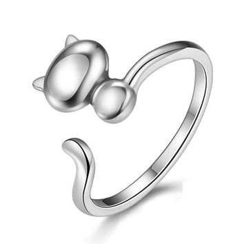 Cute Adjustable Cat Ring in 925 Sterling Silver - Sweet Gift for Cat Ladies, Animal Lovers, Girls