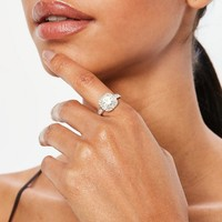 Missguided - Silver Square Diamante Detail Ring