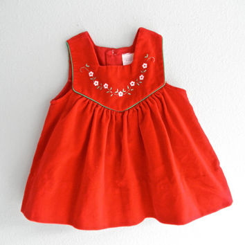 Baby Red Velvet Dress Vintage Baby Clothing
