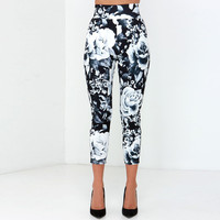 Rose Print Crop Pencil Pants