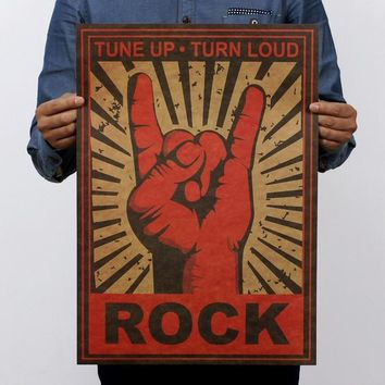 Keep On Rock Gesture Vintage Kraft Paper Movie Poster Home Decor Wall Decals Art Removable Retro Painting