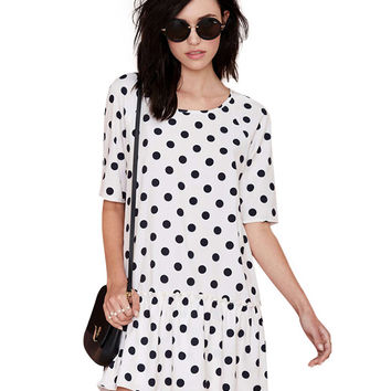 White Polka Dot Ruffled Hem Dress