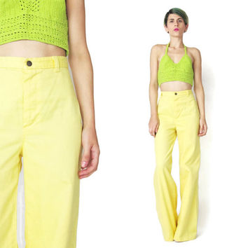 1970s Yellow Pants Vintage DITTOS High Waist Pants 70s Bell Bottoms Flared Leg Pants Womens Yellow Trousers Sunny Disco Palazzo Pants (S)