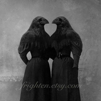Halloween Decor Wall Art, Crow Girls, Bird Art, Black and White Mixed Media, Altered Antique Portrait of Twin Sisters