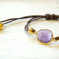 Amethyst Adjustable Waxed Cord Friendship Bracelet or Anklet