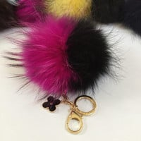 Fur pom pom keychain, bag pendant with flower charm in duo hot pink/ black color tone