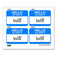 Will Hello My Name Is - Sheet of 4 Stickers