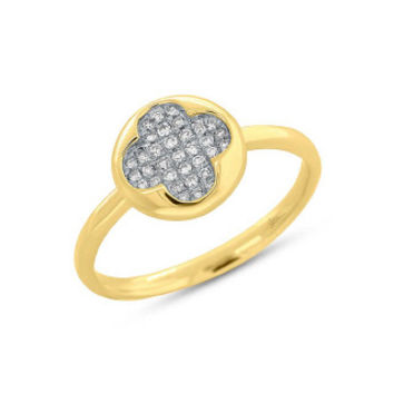 0.13ct 14k Yellow Gold Diamond Pave Clover Ring